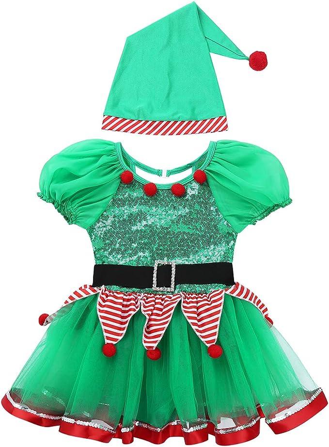 dPois Disfraz de Elfo Ayudante Niña Vestido de Duende Mangas ...
