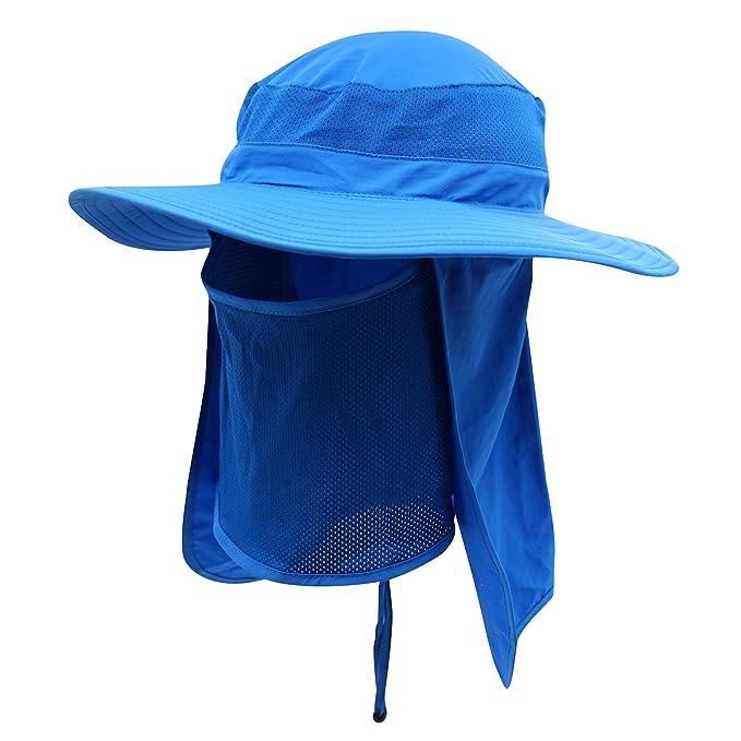 Home Prefer Men s Sun Hat Mesh Bucket Hat Detachable Neck Face Flap Hat  Boonie Hat Bright 978b44780cb3