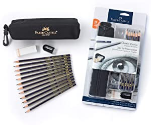 Faber-Castell Creative Studio Art On-The-Go Graphite Sketch Set – 15 Sketching Pencils and Accessories