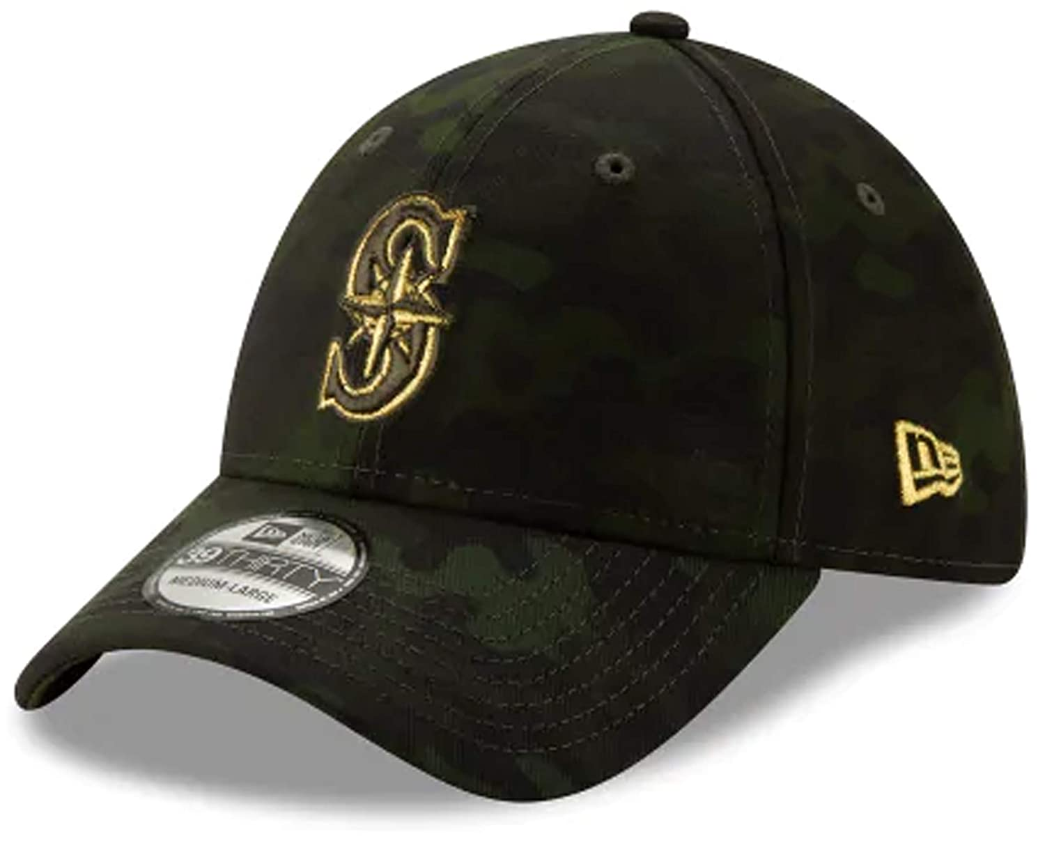New Era Authentic MLB 2019 Seattle Mariners Armed Forces Day 39Thirty Stretch Fit