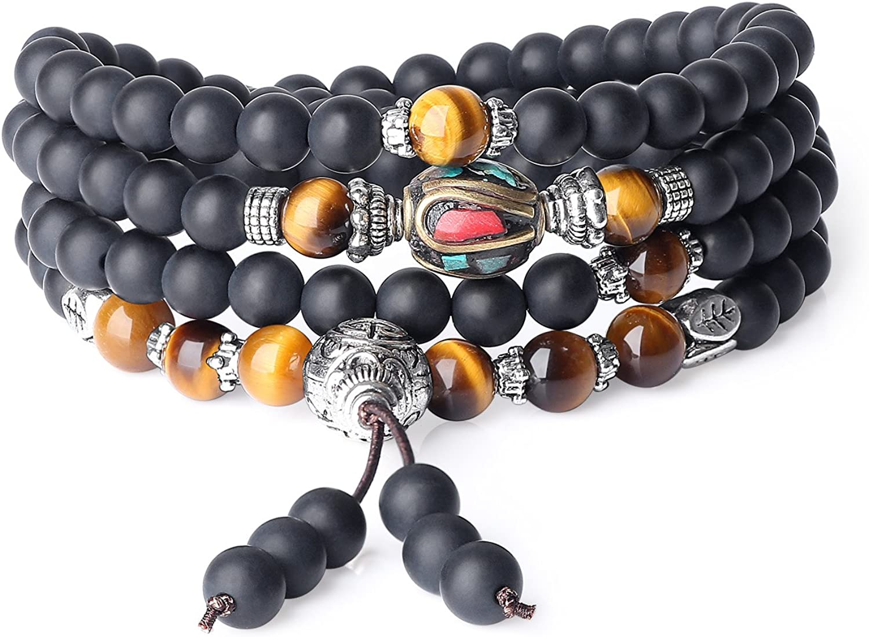 COAI® Pulsera Collar de Múltiples Capas de Piedra Semipreciosa Oración Tibetana Ónice y Ojo de Tigre 6mm