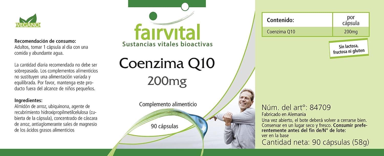 Co-enzima Q10 200mg - GRANEL durante 3 meses - VEGAN - ALTA DOSIS - 90 cápsulas - ubiquinona: Amazon.es: Salud y cuidado personal