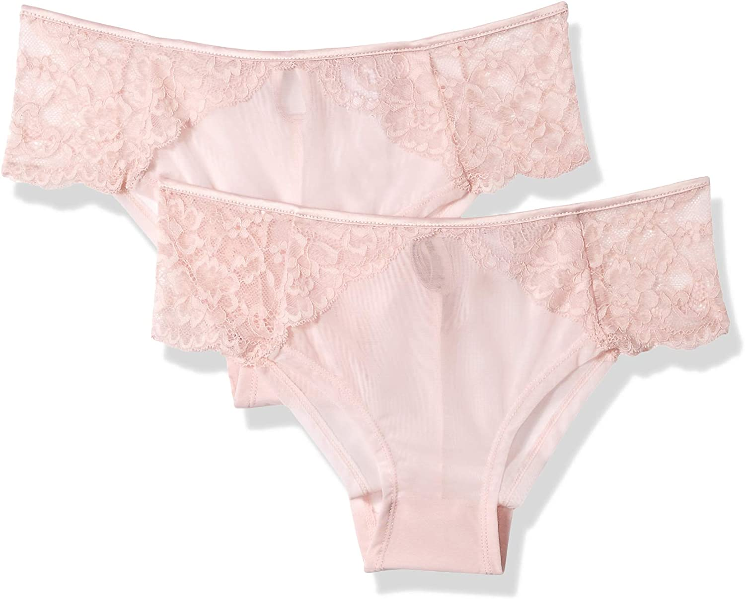 Amazon Brand - Mae Women's Lace and Satin Hipster Underwear, 2 Pack