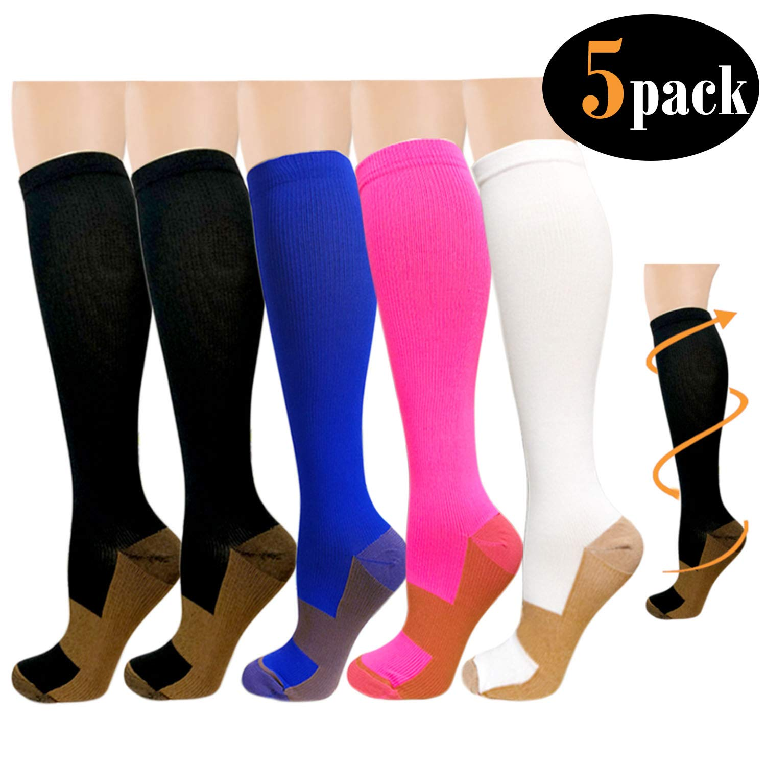 Copper Compression Socks For Women & Men(5 Pairs)- Best For Running, Athletic, Medical, Pregnancy and Travel -15-20mmHg Assort2) J5T4X
