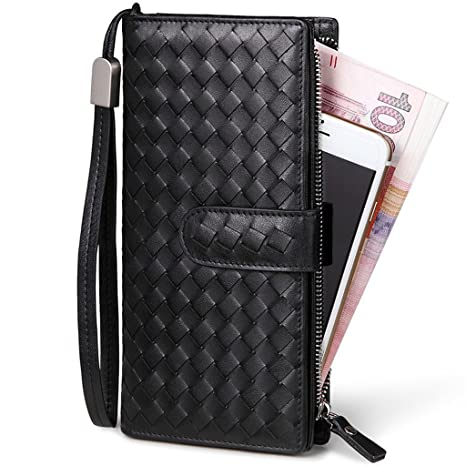 7e52e74f75c42 William POLO Men s Top Layer Leather Zipper Around Weave Wallet Clutch Bag    with Wrist Strap   Mens Handbag Credit Card Holder Checkbook Coin Purse  POLO117 ...