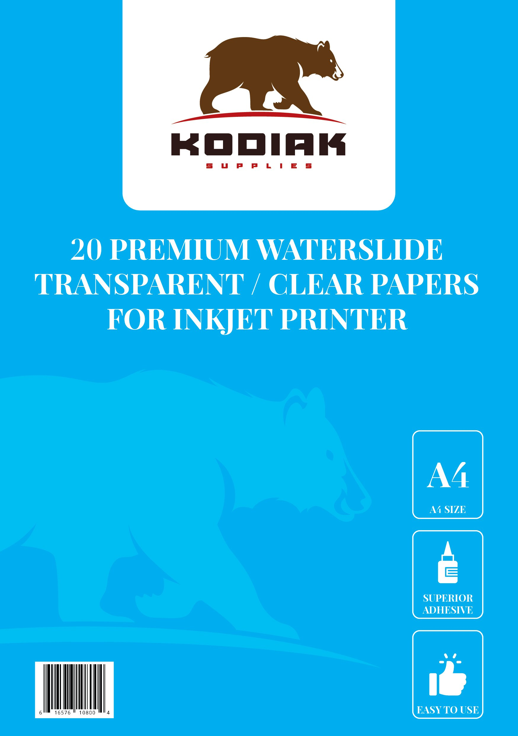 Kodiak Supplies A4 Waterslide Decal Paper INKJET Clear - 20 Sheets - DIY A4 water slide Transfer CLEAR Printable Water Slide Decals A4 20 Sheets