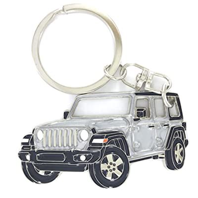 Wrangler Unlimited 4 Doors Key Chain for car Accessories. Chrome Metal tag, Enamel. Replica. (Silver): Office Products
