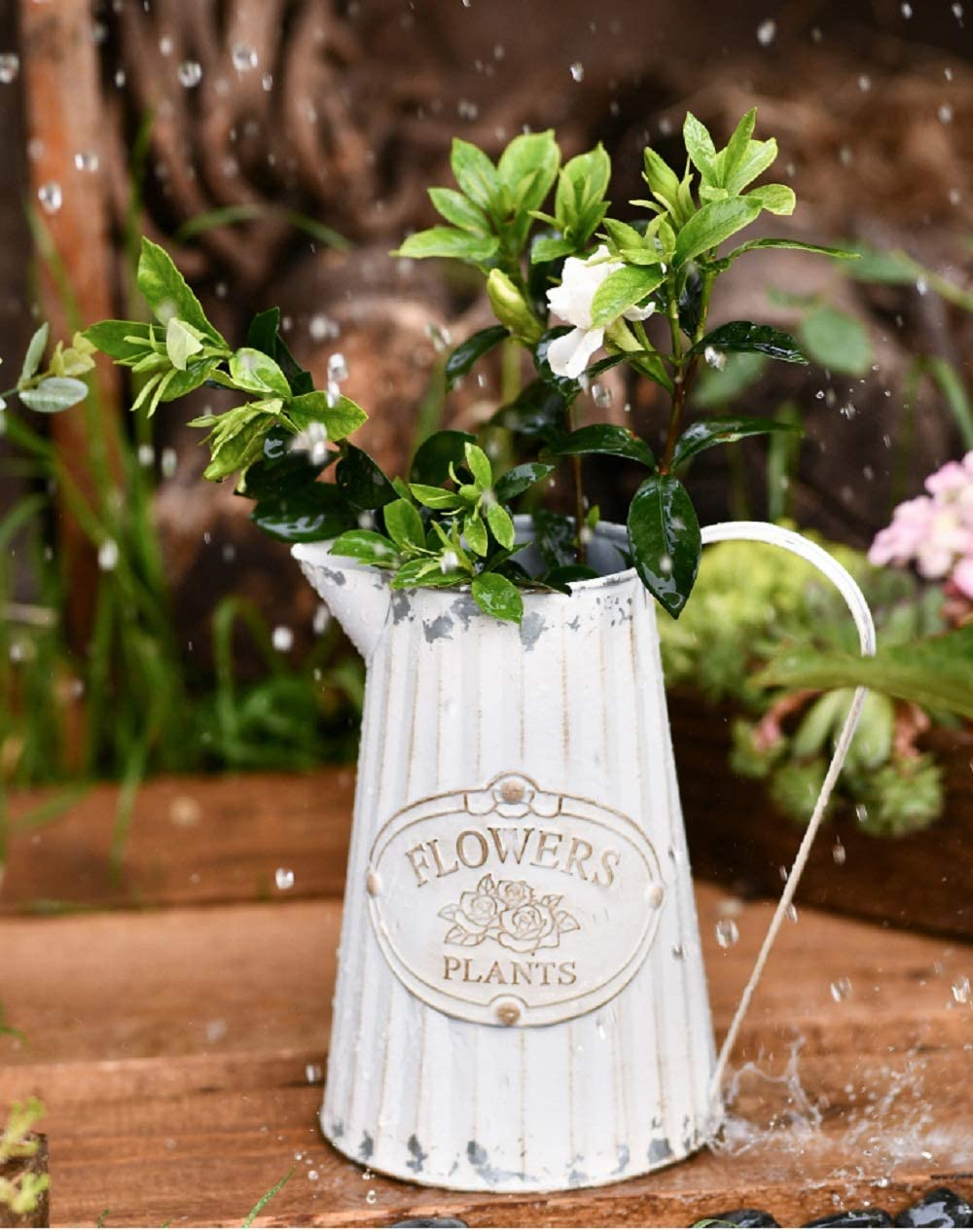 Soyizom Decorative Flower Vase Rustic Shabby Chic Metal Jug French Rustic White Pitcher Country Vintage Milk Can Galvanized Tin Watering Jug Farmhouse Decor Vase for Wedding Dinner Table Centerpiece