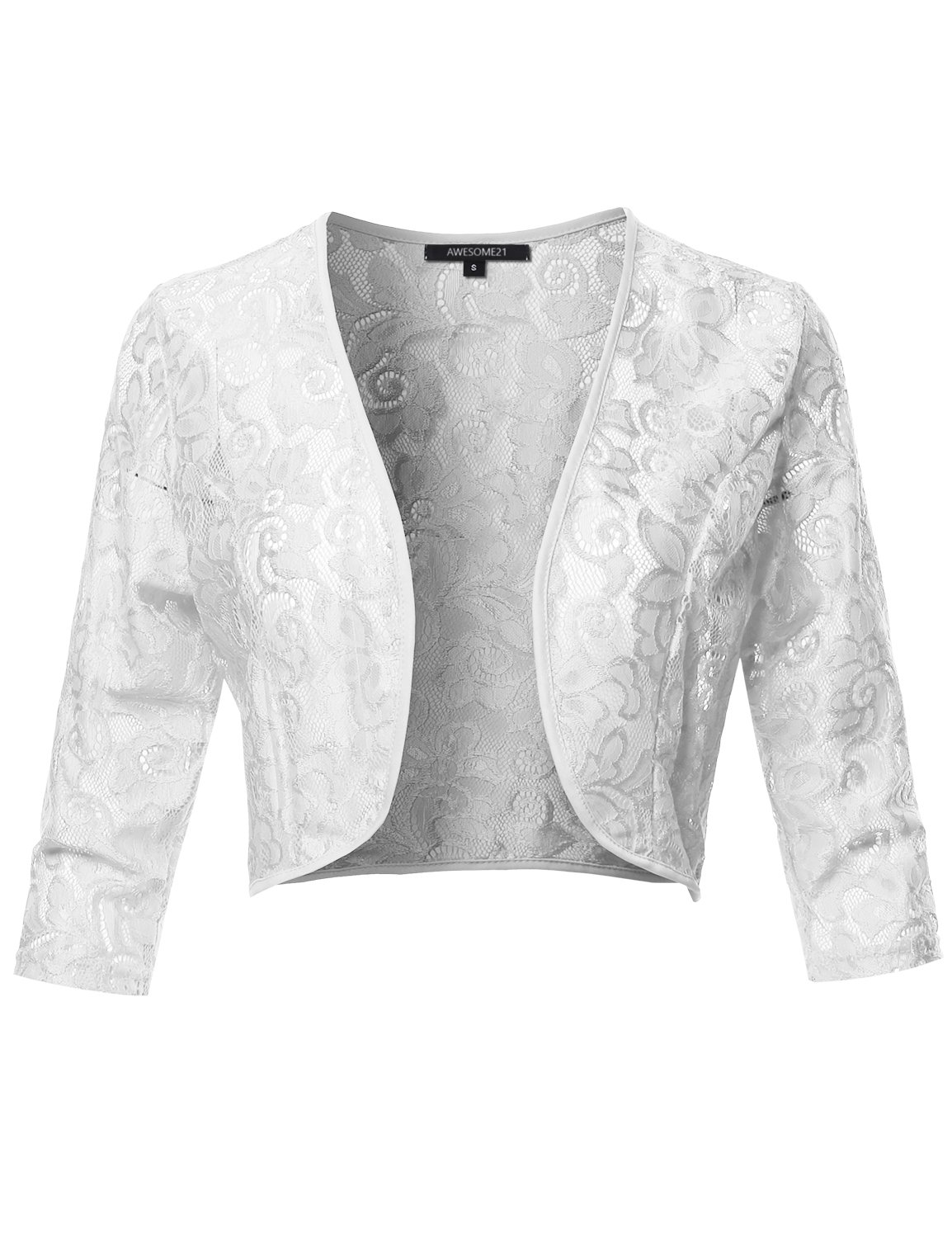 Awesome21 3/4 Sleeve Floral Lace Shrug Bolero Cardigan Top - Made in USA White M