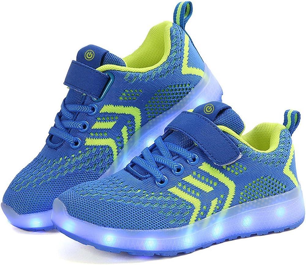 Zapatillas Deportivas LED para Niños, Verano Otoño Zapatos para Correr Respirables Luz Up 7 Colores USB Zapatos Deportivos de Zapatilla Intermitentes Recargables para Niños Niñas: Amazon.es: Zapatos y complementos