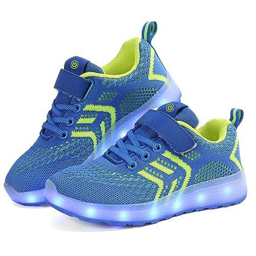 Zapatillas Deportivas LED para Niños, Verano Otoño Zapatos para Correr Respirables Luz Up 7 Colores