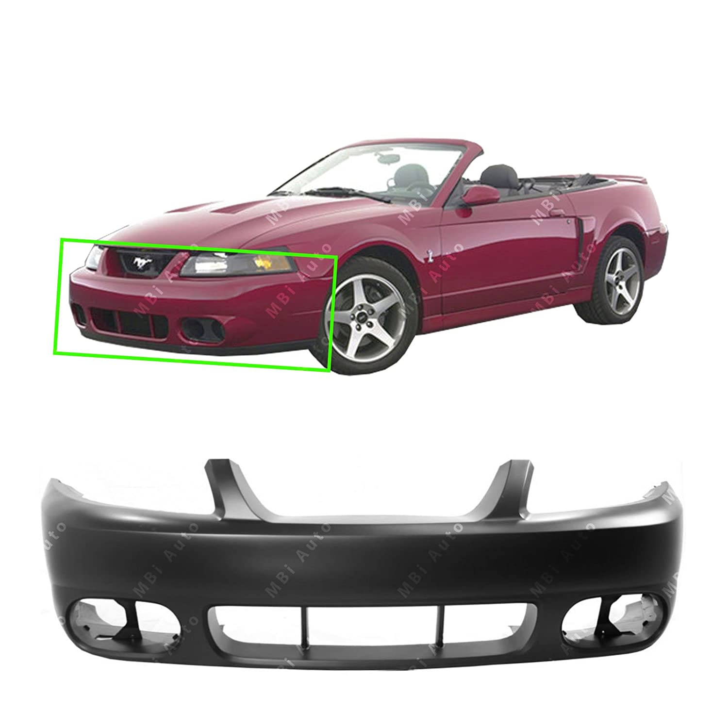 MBI AUTO - Primered, Front Bumper Fascia Cover for 2003 2004 Ford Mustang Cobra 03 04, FO1000533