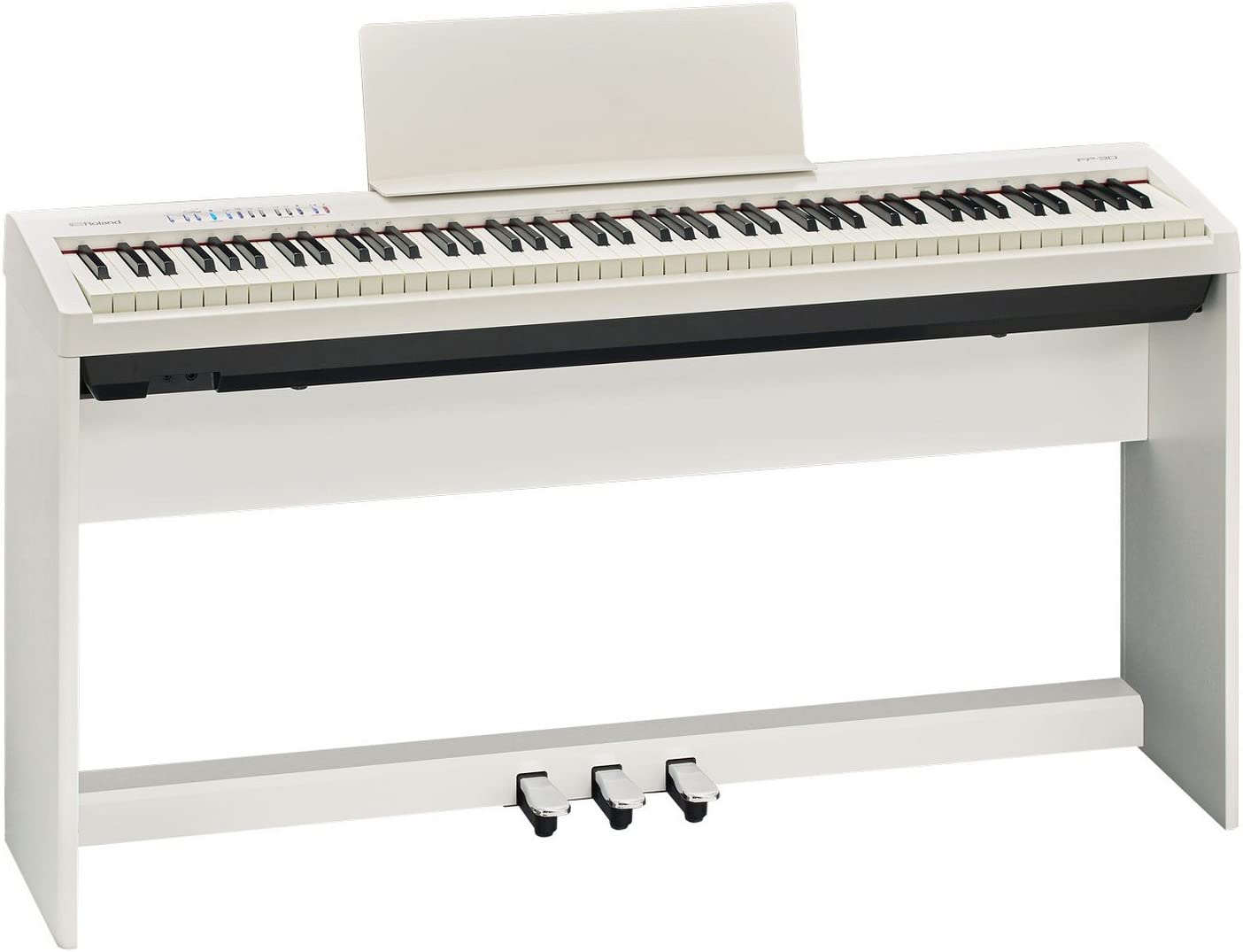 Roland Fp 30 Whc Portable 88 Key Digital Piano With Stand Pedal Board White Amazon Ca Electronics