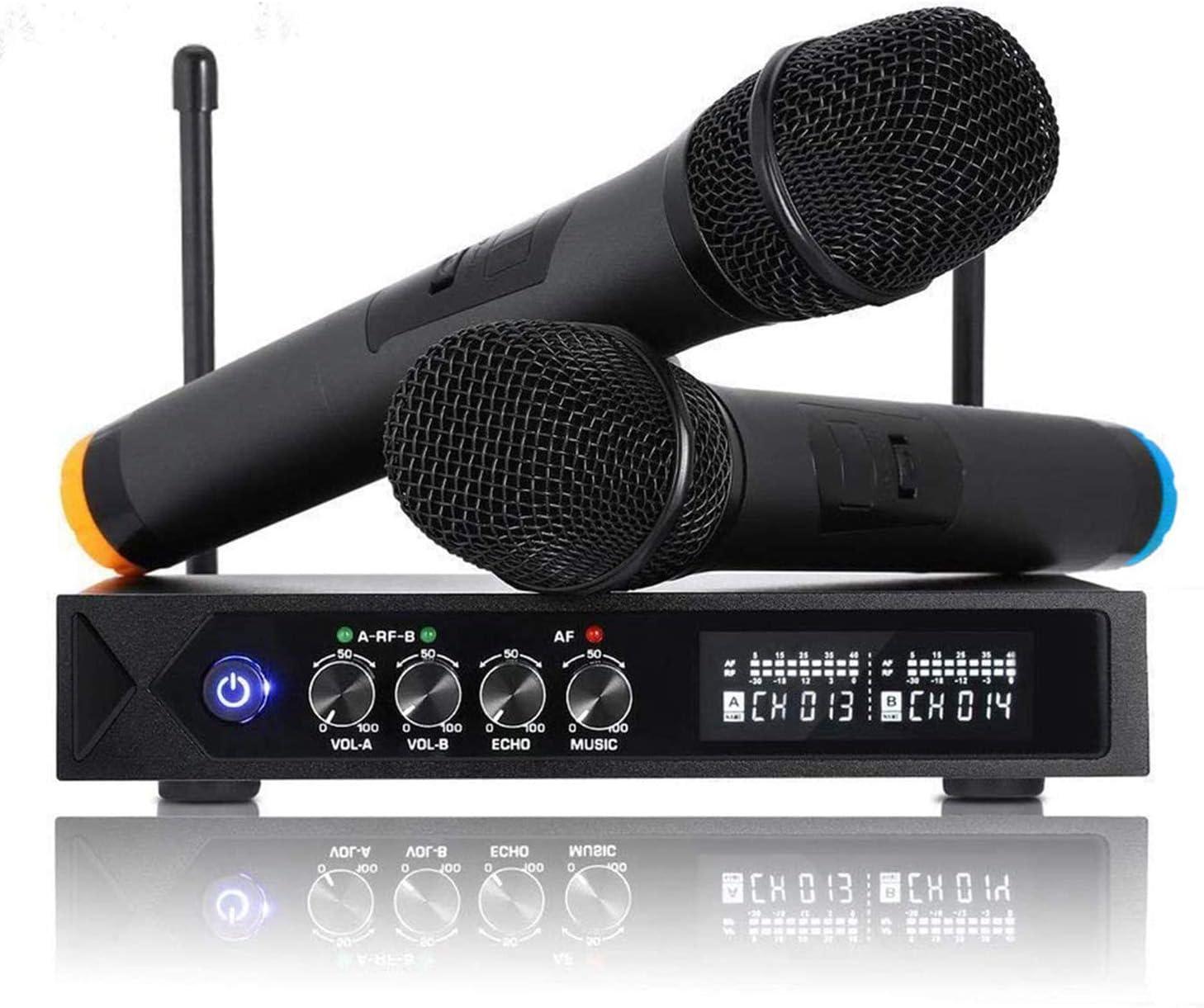 Roxtak Micrófono Karaoke Bluetooth, UHF Micrófonos Inalámbrico Profesional Portátil, Receptor de Micrófono Dual con Pantalla LCD para Fiesta de Karaoke, KTV, Lugares de Entretenimiento, Boda y Reunión