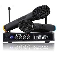 Micrófonos Inalámbrico Profesional Portátil, Receptor de Micrófono Dual con Pantalla LCD para Fiesta de Karaoke, KTV…