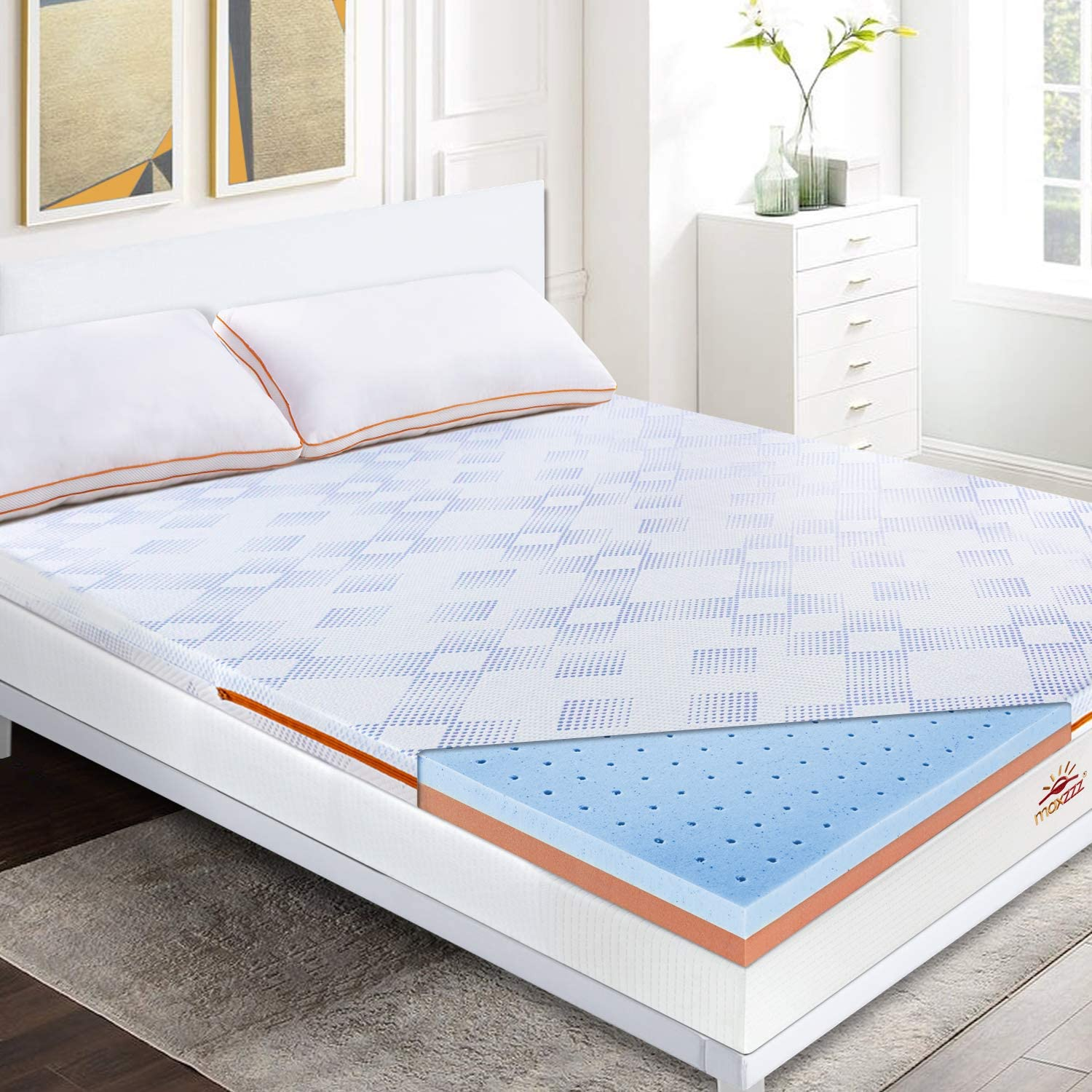 Maxzzz 3 Inch Gel Infused Memory Foam Mattress Topper, Cool & Hypoallergenic Foam Toppers for Bed with Washable Cover, Ventilated Designed & CertiPUR-US Certified Foam Bed Topper, Queen