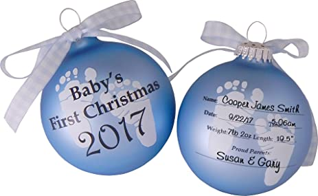 Babys First Christmas Customizable Christmas Ball Ornament 3 25 Inch Boy Blue