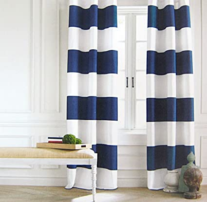 Tommy Hilfiger Wide Stripes Curtains 2 Panels 50 By 84 Inch Rod Pockets Modern Window