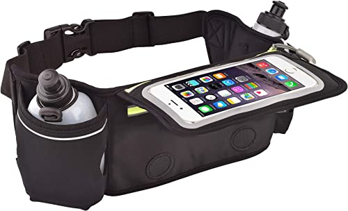 BLISCO Unisex Hydration Waist Belt for Running Hiking Climbing Cycling and Traveling Slim Flipping Phone Pocket with Touchscreen Cover Fits Phones up to 6.5 inches Two BPA-Free Reusable Water Bottles