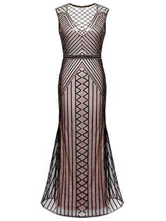 FAIRY COUPLE 20s Long Flapper Gatsby Dress Beading Prom Evening Dress D20S019(M,Beige