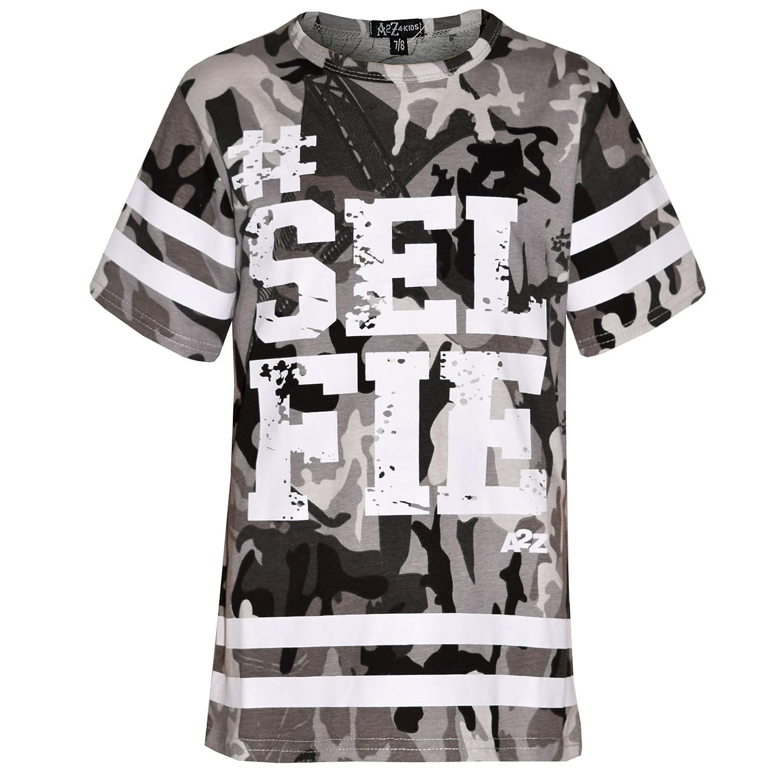 A2Z 4 Kids® Girls Top Kids Designer's #Selfie Print Camouflage Fashion T Shirt Top 7-13 Yr