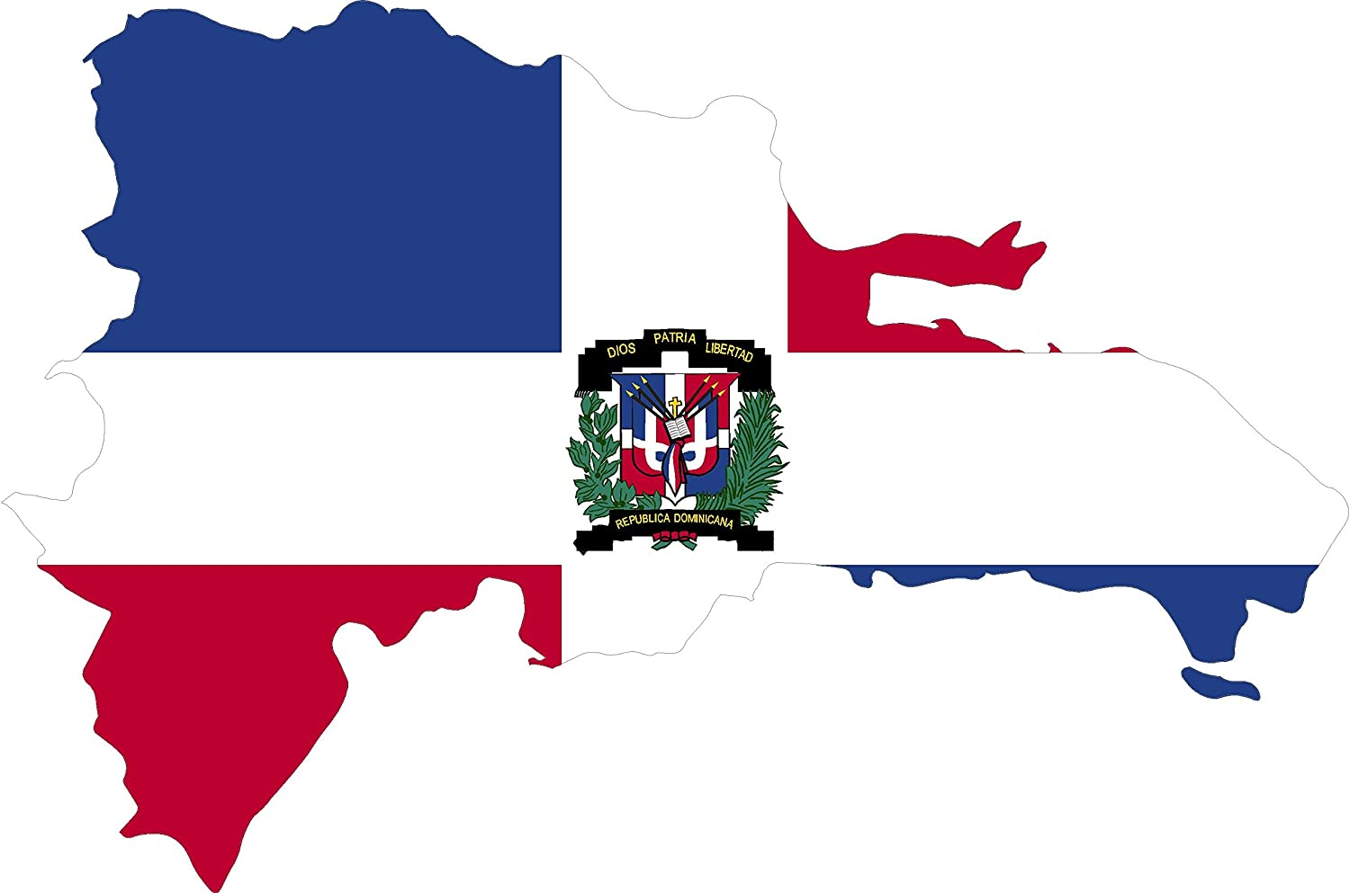 Map with Flag Inside Dominican Republic 4x5.5 Sticker Decal die Cut Vinyl - Made and Shipped in USA