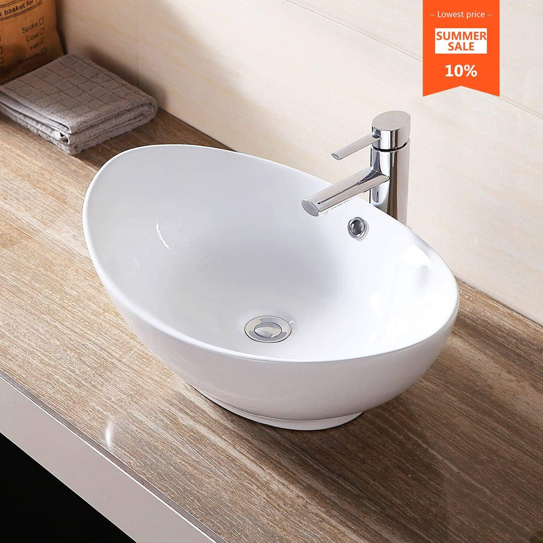 Amazon Com Mecor 23 X 16 Oval Egg Shape Vessel Sink Bathroom Vanity Bowl With Pop Up Drain White Ceramic Home Improvement