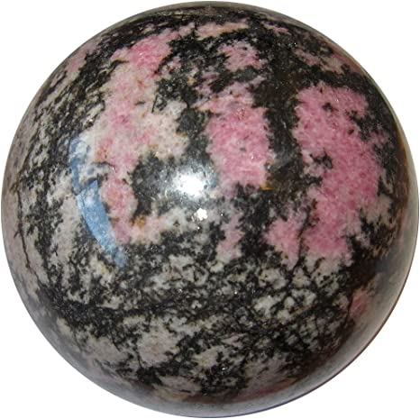 Amazon Com Satin Crystals Rhodonite Ball 3 1 Collectible Pink Enchanted Forest Sphere Fairy Pixie Sprite Energy Channeling Stone C10 Home Kitchen