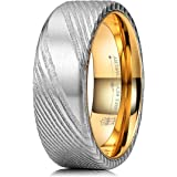 Three Keys Jewelry 8mm Damascus Steel Mens Wedding Ring Flat Wood Grain Gold Liner Wedding Band