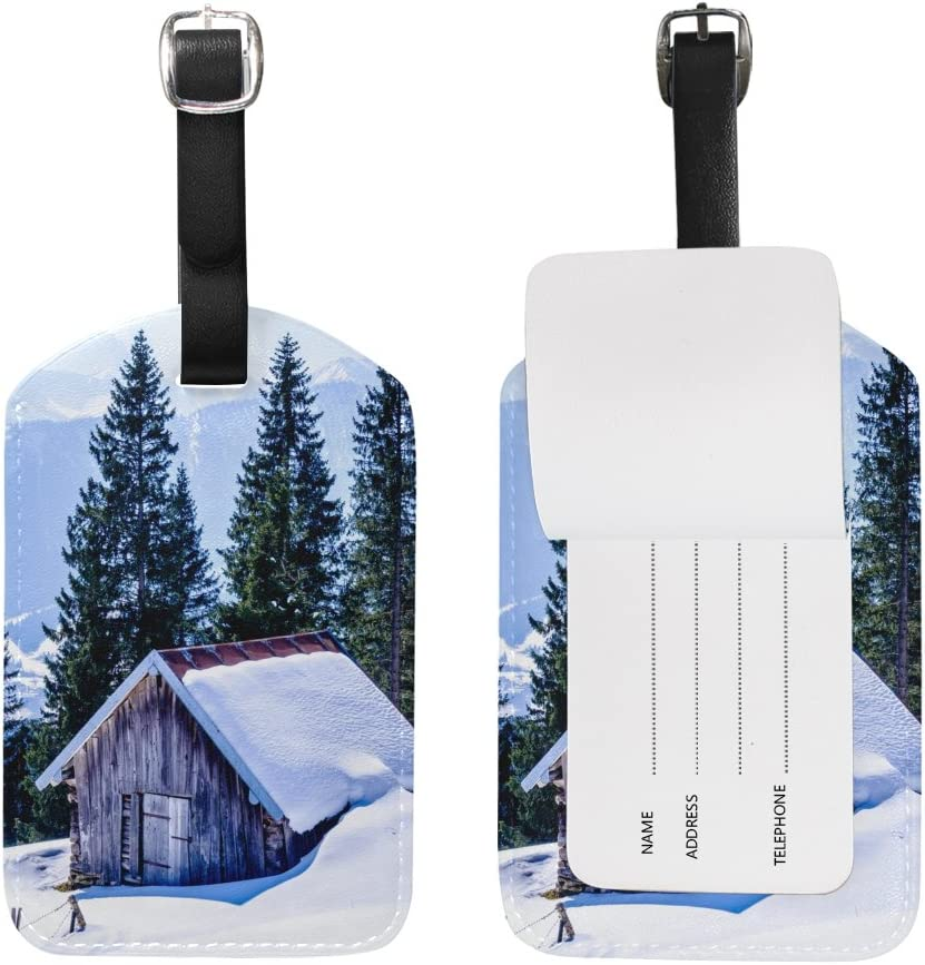 Chen Miranda House Winter Luggage Tag PU Leather Travel Suitcase Label ID Tag Baggage claim tag for Trolley case Kids Bag 1 Piece