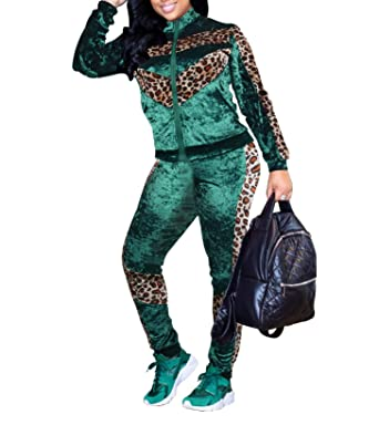 Ophestin Womens Casual Velvet Leopard Print Long Sleeve Bodycon Zip Up 2  Piece Outfits Jacket Long 02940a117