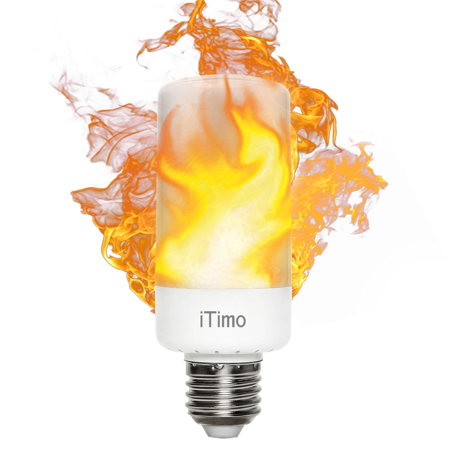 iTimo Led Flame Light Blub, 5w E26 Amber Simulated Fire Flickering Effect Lamp, 3 Modes Atmosphere Lighting For Home/Bar, Replacement of Porch Wall Desk Floor Lights Source