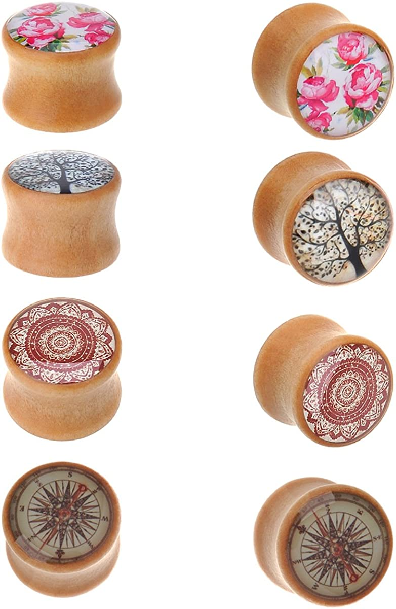 IPINK-10pc Mix-color Organic Wood Double Flared Saddle Ear Tunnels ...
