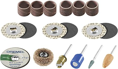 Amazon Com Dremel Ez686 01 Ez Lock Sanding And Grinding Rotary Tool Accessory Kit Includes Sanding Discs Bands And Grinding Stones Perfect For Detail Sanding And Sharpening Home Improvement