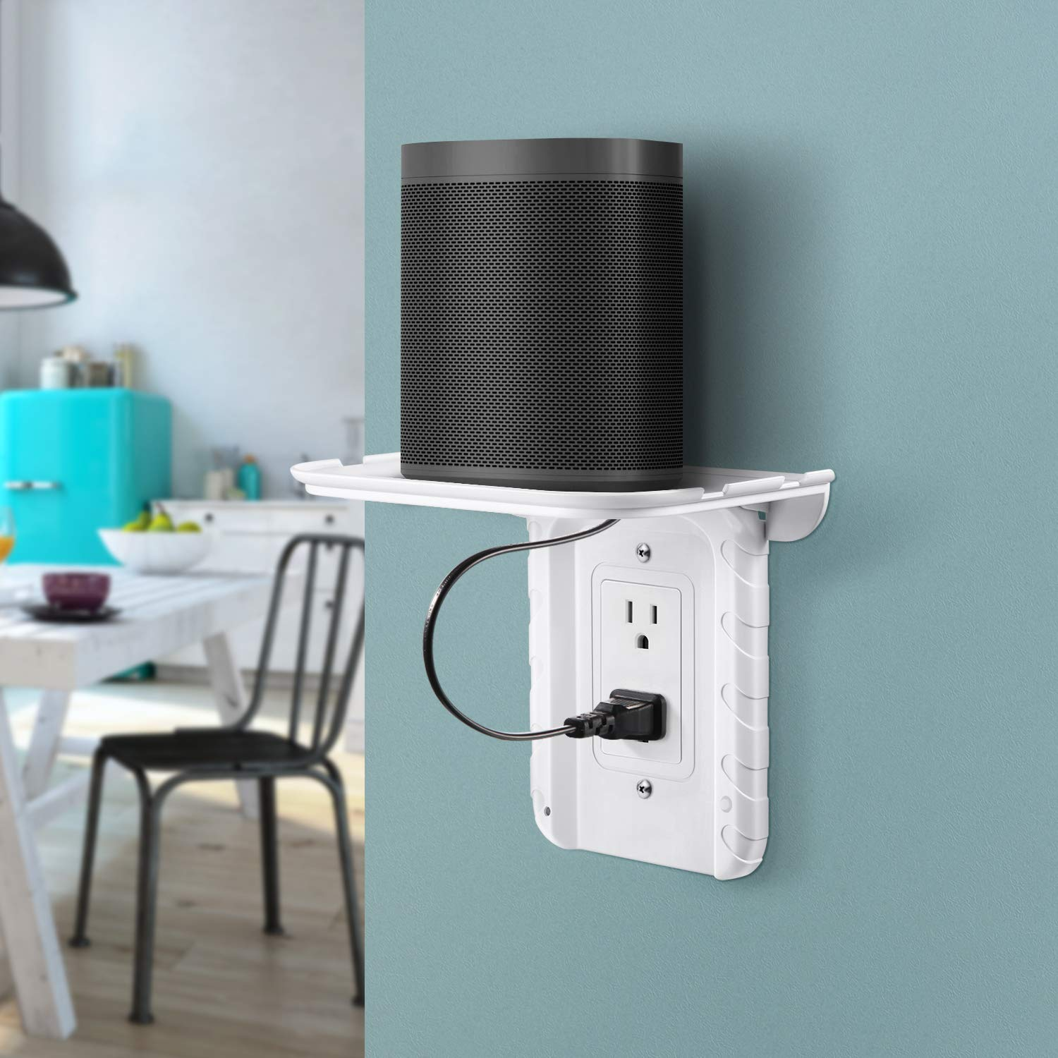Maxdot Foldable Outlet Shelf Phone Stand Holder Built in Cable Channel for Hidden Cord and Extra Custom Short Cord Duplex Outlet