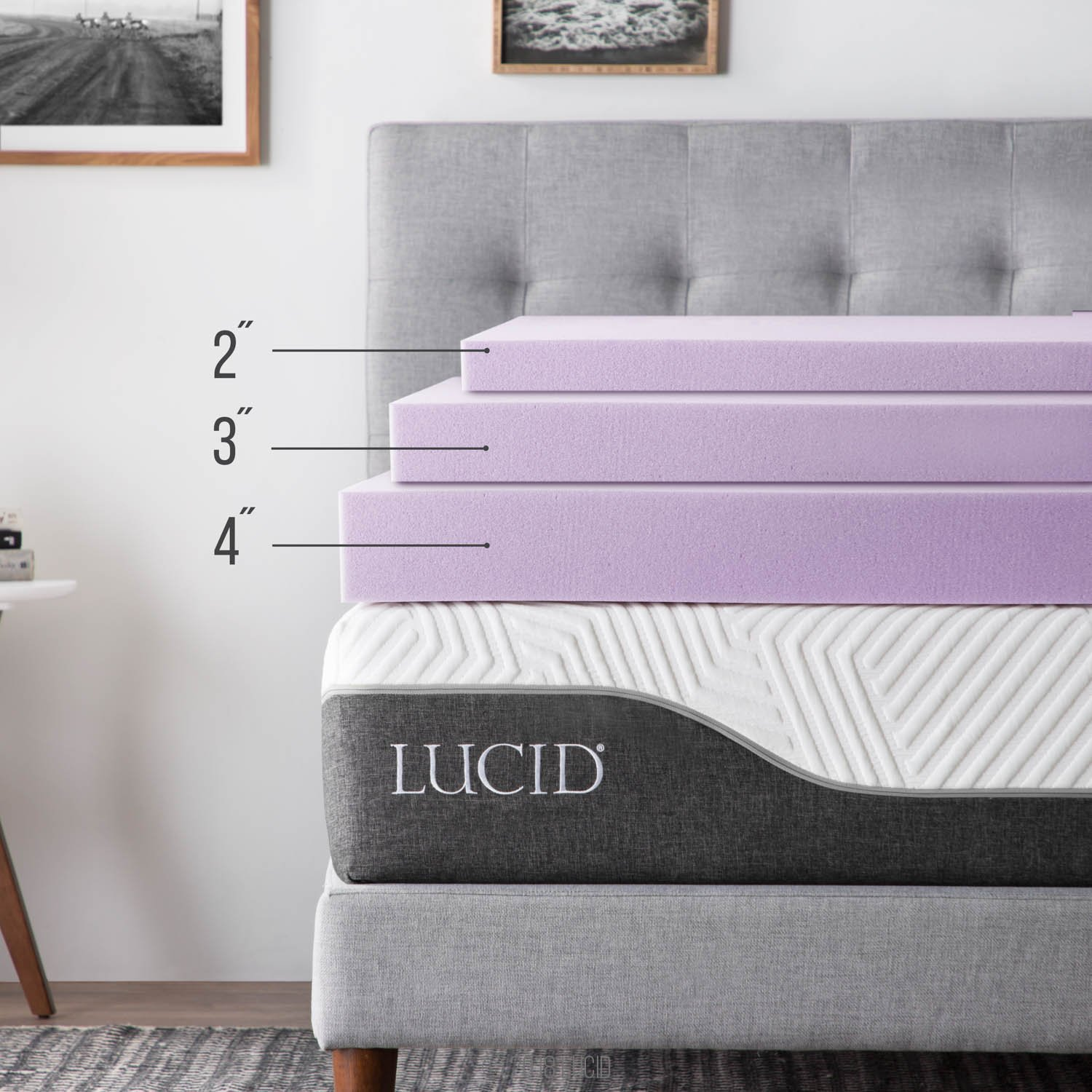 Amazoncom LUCID 2 inch Lavender Infused Memory