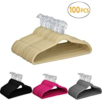 Yaheetech 100 Pcs 45cm Standard Non-Slip Velvet Coat Hangers 360° Swivel Hook in Black/Beige/Grey/Pink