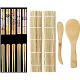 Lanzn 6 PCS Bamboo Sushi Making Kit Bamboo Sushi Rolling Kit Beginners Sushi Making Tools Bamboo Sushi Curtain Sushi Rolling Mat Paddle Sushi Rice Spreader Spoon And Chopsticks