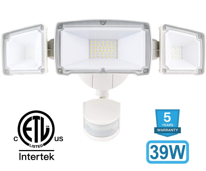 Amico 39W 3-Head LED Security Lights Motion Outdoor, Motion Sensor Light Outdoor, 3500 Lumens 6000k Waterproof IP65 ETL, Motion Sensor Flood Light