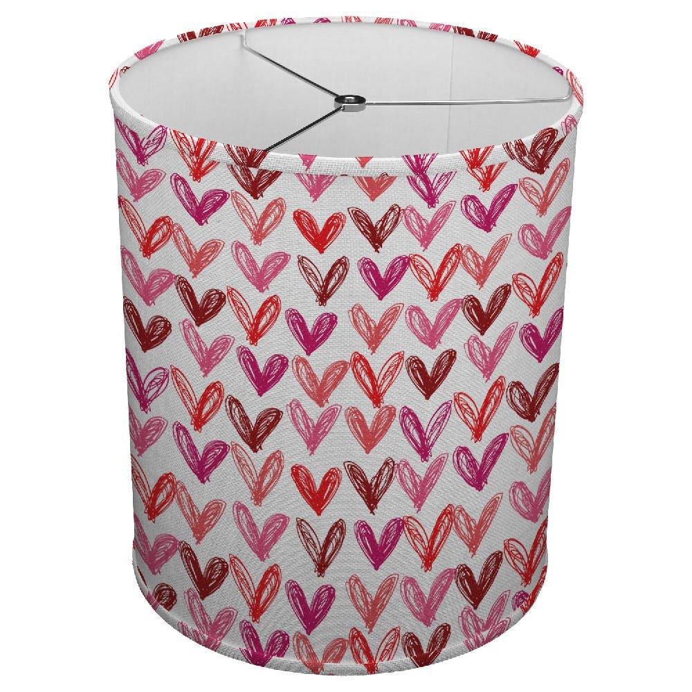 Hardback Linen Drum Cylinder Lamp Shade 8'' x 8'' x 8'' Spider Construction [ Heart Drawing Child ]