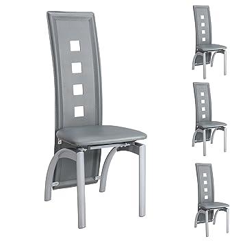 Perfekt IDIMEX 4er Set Esszimmerstuhl Monica Essgruppe Küchenstuhl Stühle Esszimmer,  Grau