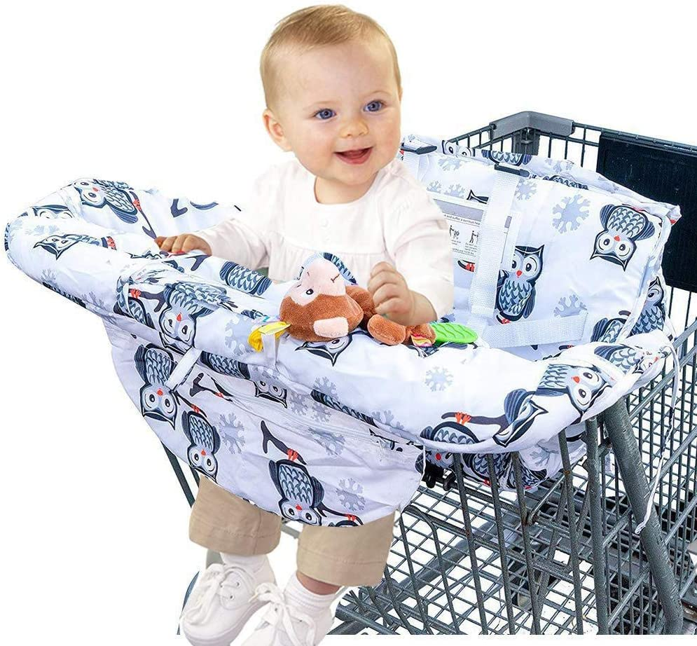 Portable Shopping Trolley Cover Highchair Cove for Baby or Toddler 30x23x5cm 2 in-1 Shopping Cart Cover and High Chair Cover