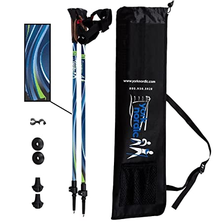 York Nordic Blue Breeze Design Hiking Walking Poles – Lightweight, Adjustable, and Collapsible – w flip locks, detachable feet and travel bag – pair