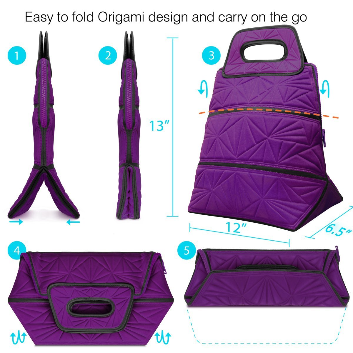 Metric USA Lunch Tote Bag with Odor-eliminating Pouch, Reusable & Portable Insulated Lunch Box Cooler Bag to Work, School, Picnic & Food Holder with Zipper stash pocket for Women, Men and Kids(Purple)