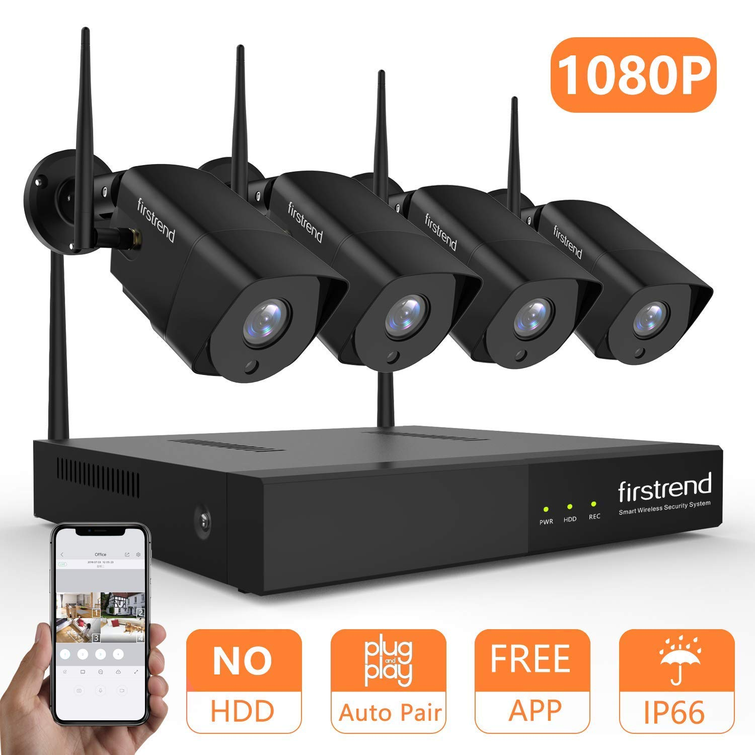 Security Camera System Wireless, Firstrend 8CH 1080P Wireless Security Camera System with 4pcs 1080P HD Security Camera, P2P Camera System with 65ft Night Vision, No Hard Drive[Black]