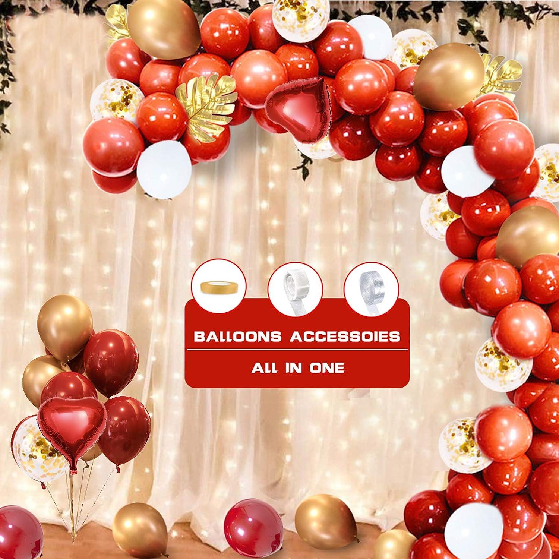 Guirnalda de Globos Rojos y Dorados, 110 Globos de Látex Rojo Rubí, Blancos, Hojas de Palma,Globos Metálicos Dorados, Globos de Confeti,Decoración para niñas,Mujeres,Cumpleaños, Bodas,Navidad