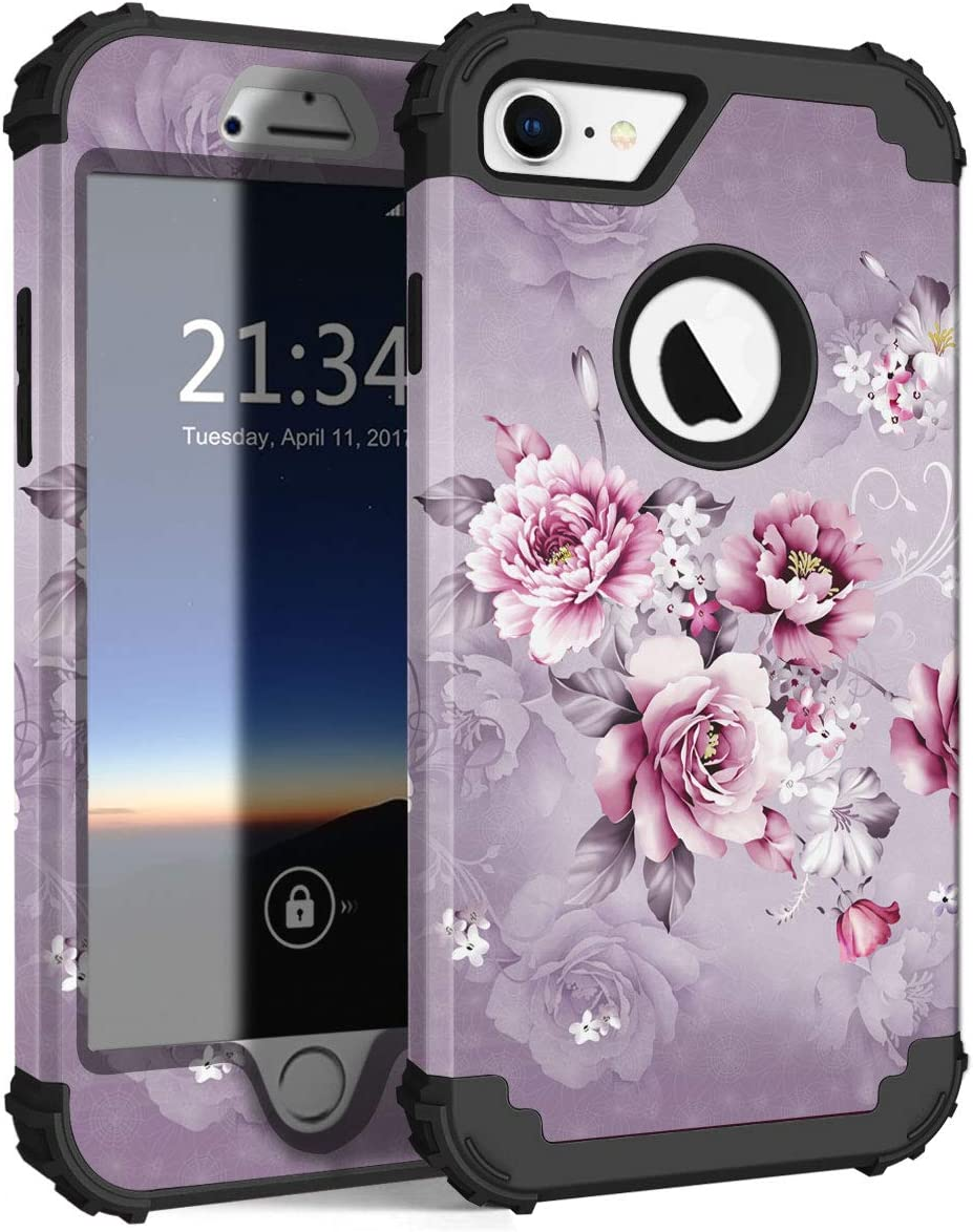 Hocase iPhone 8 Case iPhone 7 Case, Shockproof Protection Heavy Duty Hard Plastic+Silicone Rubber Bumper Full Body Protective Case for iPhone 8, iPhone 7 (4.7-Inch Display) - Light Purple Flowers