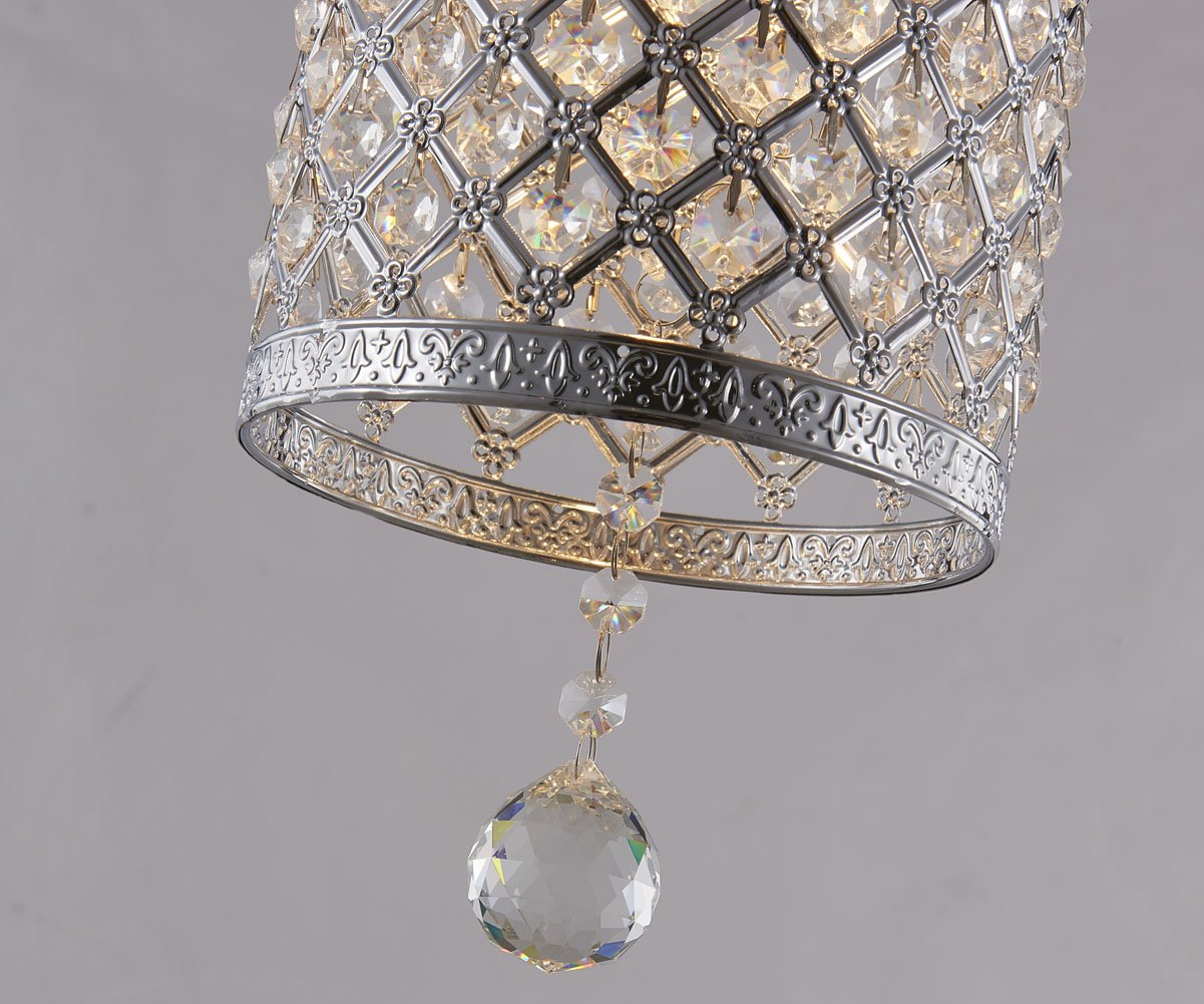 Surpars House Plug in Pendant Light Silver Crystal Chandelier with 17' Cord and On/off Switch in Line by Surpars House (Image #4)