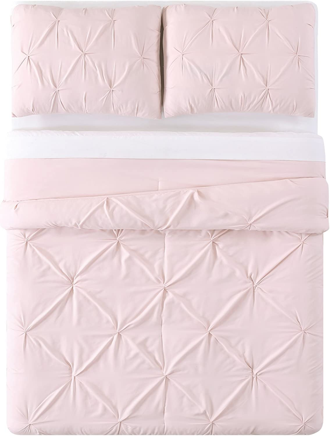 Truly Soft Everyday Pleated Comforter Set, Full/Queen, Blush