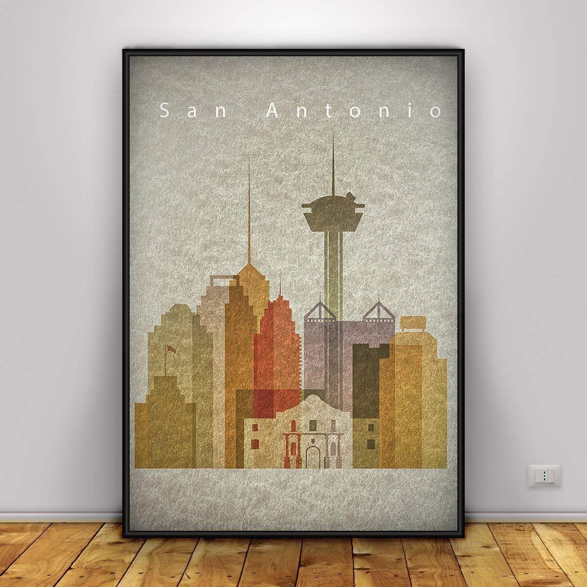 Amazon com san antonio poster vintage style print texas cityscape